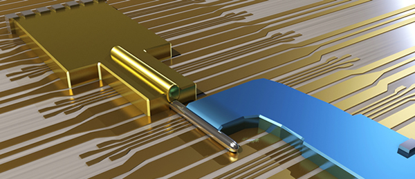 Conceptual close-up of the Majorana nano-device. The device is made of an Indium Antemonide nanowire, covered with a Gold contact and partially covered with a Superconducting Niobium contact. The Majorana fermions are created at the end of the Nanowire © TU Delft 2012
